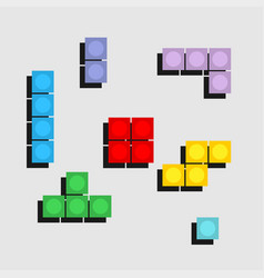 set of colorfull tetris game of pixel bricks vector image