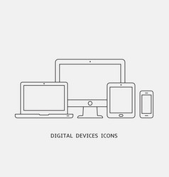 set of outline device icons monitor vector image