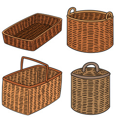 Set of wicker basket vector