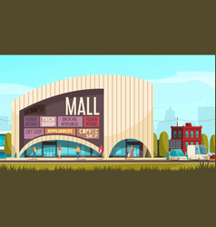 Shopping mall outside composition vector