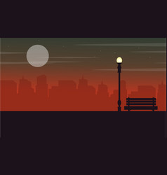 Silhouette of town with chair on the street with vector