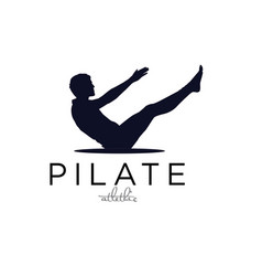 Sitting pilates men silhouette logo design simple vector