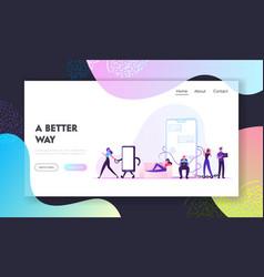 social media addiction website landing page vector image