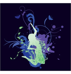Splash floral background with girl vector