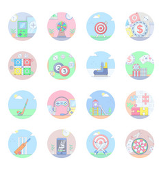 Sports and outdoor games flat icons vector