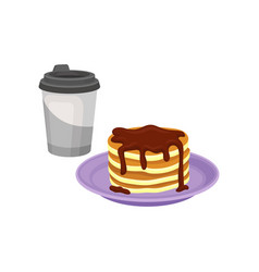 stack of sweet pancakes with chocolate syrup vector image