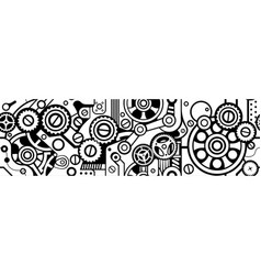 Steampunk seamless black pattern vector