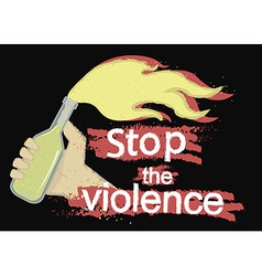 Stop the violence logo on black vector image