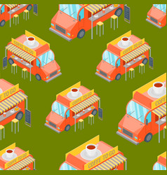street cafe food truck seamless pattern background vector image