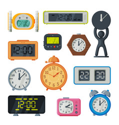 Table clocks collection old fashioned and modern vector
