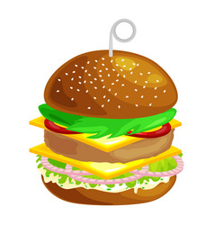 Tasty burger grilled beef and fresh vegetables vector