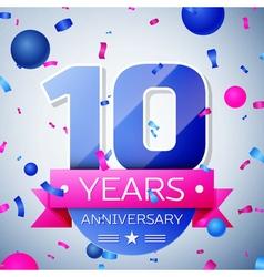 Ten years anniversary celebration on grey vector