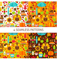 Thanksgiving day seamless patterns vector
