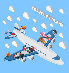 Travelling people isometric concept vector