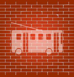 Trolleybus sign whitish icon on brick vector