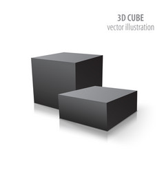 two 3d cubes black isolated on white background vector image