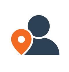 User profile with location mark line icon public vector
