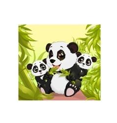 Very cute Panda eating bamboo vector