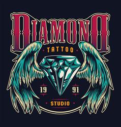 vintage tattoo salon colorful emblem vector image