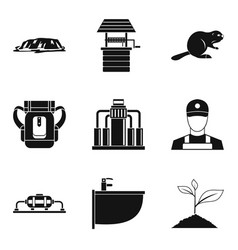 water spring icons set simple style vector image