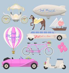 Wedding fashion transportation vector