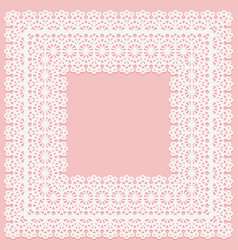 White lace square doily on a pink background vector