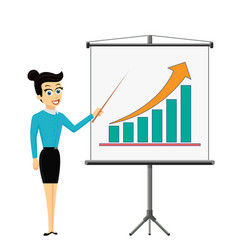 Woman businessman showing on the board financial vector