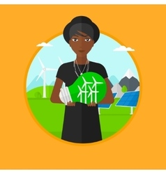 Woman holding lightbulb with wind turbines inside vector