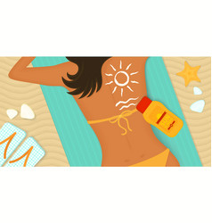 Young girl sunbathes on a beach vector