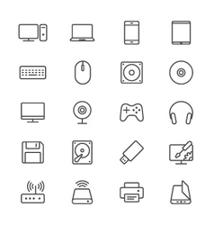 Computer thin icons vector image vector image