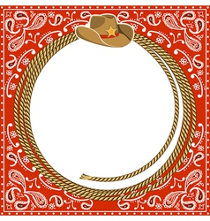 Cowboy card background with hat and rope vector image vector image