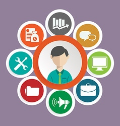 flat customer service concept - icons and vector image vector image