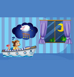 girl counting sheep at bedtime vector image