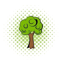 Green tree comics icon vector image vector image