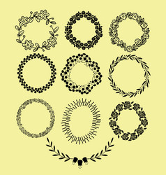 hand drawn floral wreaths with leaves flowers vector image
