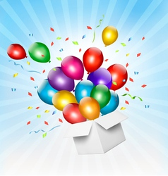 Holiday background with colorful balloons and open vector image