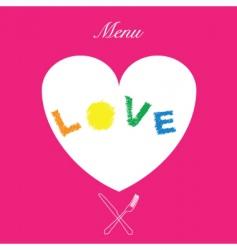 love menu cover vector image