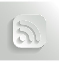 RSS icon - white app button vector image vector image