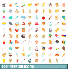 100 interior icons set cartoon style vector image