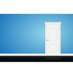 Closed white door on blue wall vector image