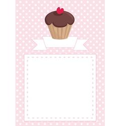Cupcake card on pink polka dots background vector image vector image