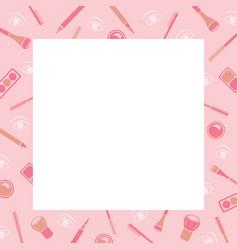 makeup cosmetics tools icons pattern border vector image