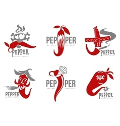 Set of chili pepper logo vector image vector image