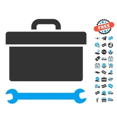 Toolbox Icon With Free Bonus vector image vector image