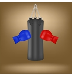 Boxing Gloves and Black Sport Bag vector image vector image