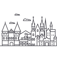 germany castles line icon sign vector image vector image