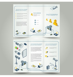 photography brochure photo camera icons vector image vector image