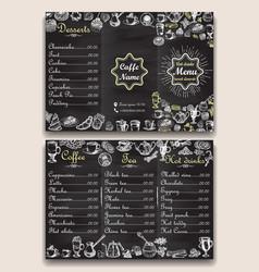 restaurant hot drinks menu design with chalkboard vector image