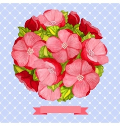 Round vintage watercolor bouquet of pink flowers vector image