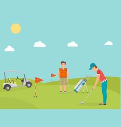 stylized golf field hobby equipment vector image